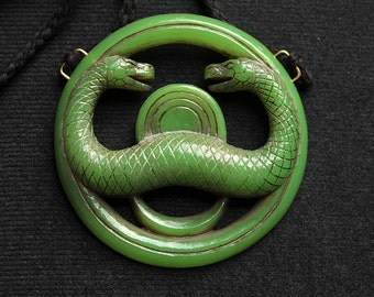 THULSA DOOM faux jade medallion necklace
