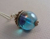 Vintage Sterling Silver and Aquamarine Large Glass Bead Pendant Necklace OOAK