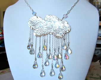 Sold!!!!!!!!!!!!!!Bi Metal cloud with crystal raindrops