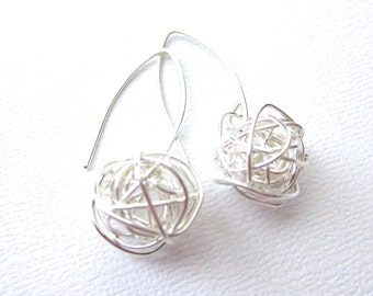 Modern Wire Ball Earrings made with sterling silver wire, Simple modern sterling silver earrings, long ear wire