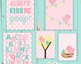 Cute Birds Goodnight Alphabet Word Nursery Art  Print Set Baby Girl Room Decor