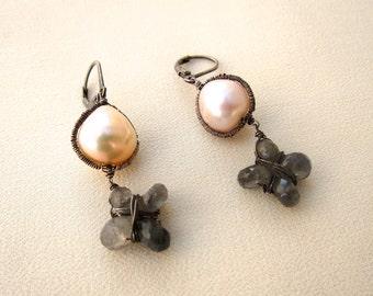 Pearl with labradorite  drop earring