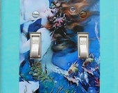 3 CHOICES of Mermaid Double switchplates & MATCHING Screws- Mermaid wall decorations mermaid collectible mermaid wall art mermaid art (C)