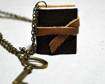 Dark Brown Leather Book Necklace