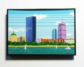 Framed Pixel Boston Skyline Print