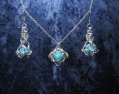 Sky Blue and Silver Quasar Chainmaille Marble Earring & Pendant Set