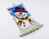 Beaded Miniature SnowmanTapestry, Ornament, Decoration, Frosty