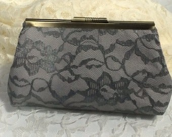 Vintage Lace Clutch in Gray