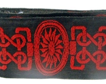 """1.5"""" Red Celtic Embroidery on Black Greyhound, Whippet, Galgo Martingale Collar"""