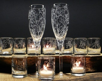 Champagne Flutes And Candle Holder Set Hand Engraved Glass 'Branches And Leaves' Spring Wedding Decor