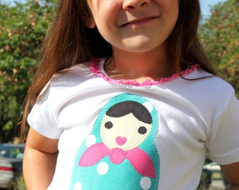 I Heart MATRYOSHKAS TEE Baby and Toddler Girls 3 Months to 6/7