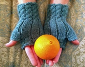 Cable Knit Handwarmers, Fingerless Mittens in Sea Glass, Size Small