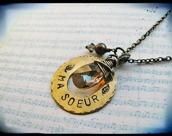 Ma Soeur Hand Stamped Brass Sister Necklace with Bronze Swarovski Teardrop and Freshwater Pearl