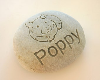 Custom Engraved Hamster Memorial White Stone Dog Cat Pet Loss Paw Print Personalized Grave Stone Marker