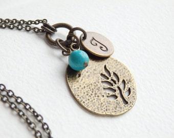 Personalized Antique TREE Monogram Long Necklace