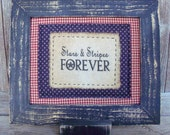 Stars and Stripes Stitchery, Rustic, Americana,Country Primitive,Red,White,Blue,Independence Day, 4th of July Decoration, Stars, Patriotic