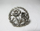 Sterling Circle Pin Flowers Floral Garland Wreath Daisies Silver Brooch
