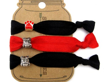 Bulldog and Paw Knotted Elastic Hair Tie Bracelet No Crease Ponytail Holder red black dog pet animal thick hair