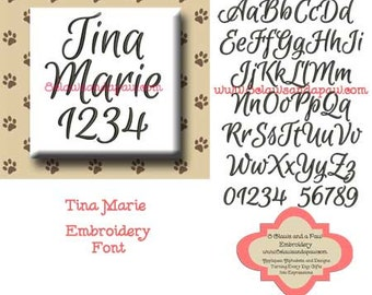 Tina Marie Embroidery Font Includes 7 Sizes