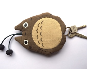 TOTORO Japanese Key Cover Absolutely Natural handloom fabric key chain brown 2