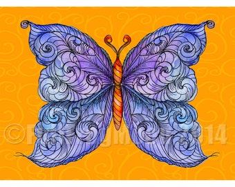 The Cosmic Purple Butterfly Print