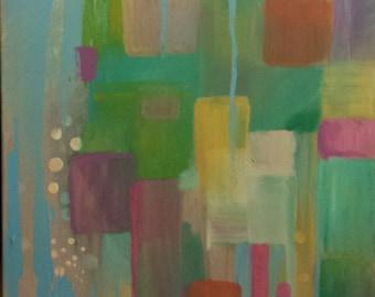Abstract Painting Original Art Canvas Art Modern Art Blue Pink Yellow Green - Fairy Lights 16 x 20