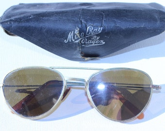 Vintage Miro Ray Aviators by Rayben Mirrored Brass Sunglasses