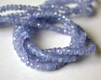 TANZANITE Gemstone. Faceted Rondelles. 4.5 to 5mm . Precious Gemstones Rondelles.  Strand Your Choice  (7taz) LAST ONES