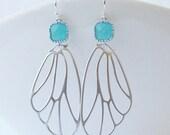 LAST ONE Mint Butterfly Wing Drop Earrings