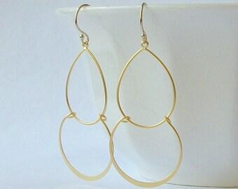 Gold Hoop Dangle Earrings, Graduated Hoop Dangle Earrings