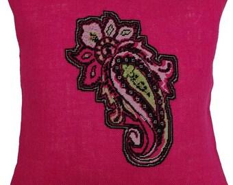 Needlepoint pattern PAISLEY - cross stitch pattern,embroidery pattern,needlepoint pillow,needlepoint,anette eriksson,cross stitch,boho,pink