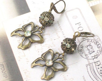 BRASS BUTTERFLY - Vintage Inspired Dangle Earrings - Art Nouveau Jewelry