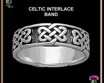 Celtic Interlace Wedding  Ring - Sterling Silver CW15