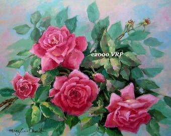 Roses, Art Print, CP60, Half Yard Long, Shabby Chic