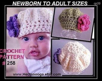 Childrens, kids hats, womens, Crochet Pattern hat num 258,  STARLETTE  BERET, newborn to adult,