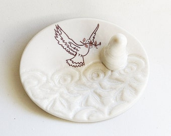 Ceramic Peace Dove Ring Cone White Porcelain Collectible