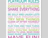 Playroom Rules Nursery Art Nursery Quote Nursery Decor Kids Wall Art - 11x14 Print - CHOOSE YOUR COLORS