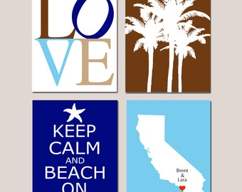 Family Beach Love - Set of Four 8x10 Custom Prints - LOVE, Palm Trees, Keep Calm and Beach On, State Silhouette Map - GREAT GIFT