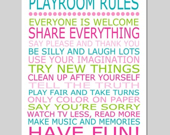Playroom Rules Nursery Art Nursery Quote Nursery Decor Kids Wall Art - 11x14 Print - CHOOSE YOUR COLORS