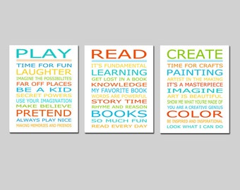 Playroom Rules PLAY READ CREATE Set - Kids Wall Art Trio - Set of Three 11x14 Nursery Art Prints - Choose Your Colors