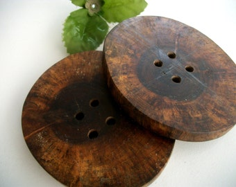 2 XXL Wooden Buttons - Rustic Black Walnut Tree Branch Buttons - 3.5 Inch -  4 Hole Buttons for Knitting, Crochet or Fiber Projects