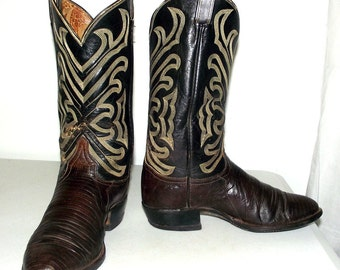 Vintage Tony Lama cowboy boots size 9 D or womens size 10.5 - two tone brown - lizard
