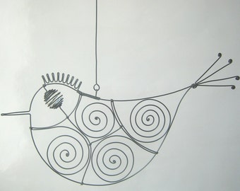 Wire Sculpture Colorless - Eyed Metal Bird