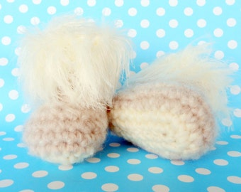 Beige Baby Booties Furry Shoes Crochet Baby Slippers Booties for Baby Boys or for Baby Girls