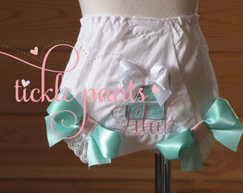 Blue Gift Box bloomers- Diaper cover, Bloomers - aqua blue- Gift box bloomers match ALL Tickle Pants Collections
