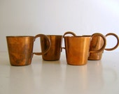 Royal Navy Rum Cups 1/2 Gill Vintage Copper Cups Set of Four