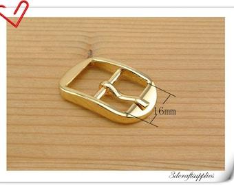 Center Bar Buckle 5/8 inch (16mm) gold Pin buckle,belt buckle,purse buckle 6 pieces K106