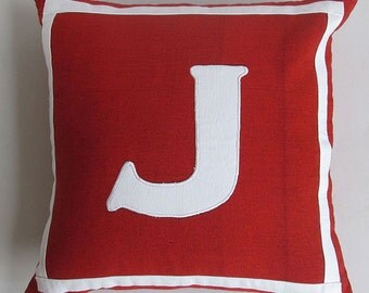 red and white monogrammed initial pillows -12 &  14 inches CUSTOM MADE to colour of your choice.