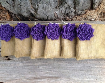 Set of 6 Bridesmaid Clutches, Rustic Wedding Bags, Purple Wedding Purses, Burlap Clutches, Gifts for Her, Bridal Clutch, Custom Clutch