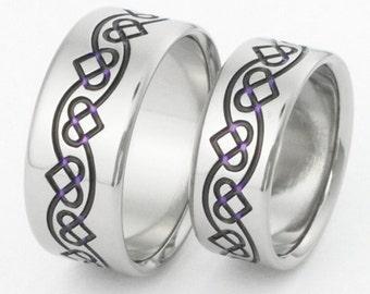Irish Celtic Titanium Ring Set - Chain of Hearts Rings - Purple Hearts - stck35 Purple